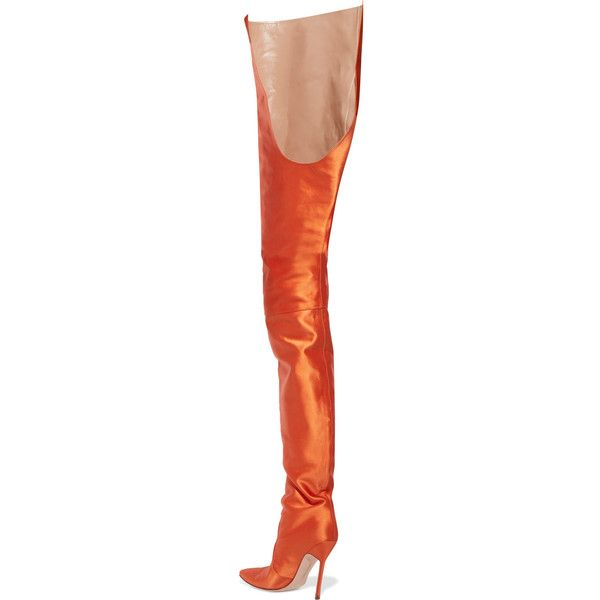 Vetements Vetements - + Manolo Blahnik Satin Boots - Bright orange (76,035 MXN) ❤ liked on Polyvore featuring shoes, boots, foldable shoes, handcrafted shoes, bright colored shoes, fold over boots and bright shoes