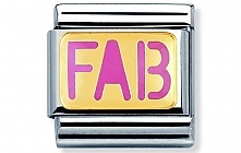 Nomination stainless steel and 18ct gold FAB (pink) Charm with Enamel