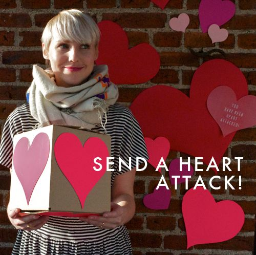 .....LOVE THIS IDEA ..... Awesome!  Send a 'heart attack'.  Fill a box with different size & color hearts. You can write things you love about the person some of the hearts.  You can give to someone as a gift or mail to a loved one who lives out of town or is serving in the military.