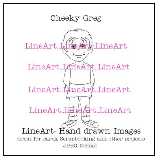 Cheeky Greg Handdrawn LineArt  Instant Download by Beauladigitals