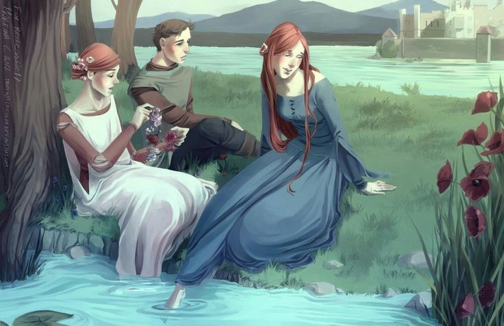 Here is Young Petyr Baelish (Littlefinger) with the Tully sisters, Catelyn and Lysa. Catelyn would go on to marry Eddard Stark and become Catelyn Stark, but Petry maintains that Catelyn, his childhood friend, was the only woman he ever loved.