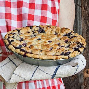 A quick homemade piecrust and a filling that can be made with frozen blueberries make this tasty pie easy to make any time of year.