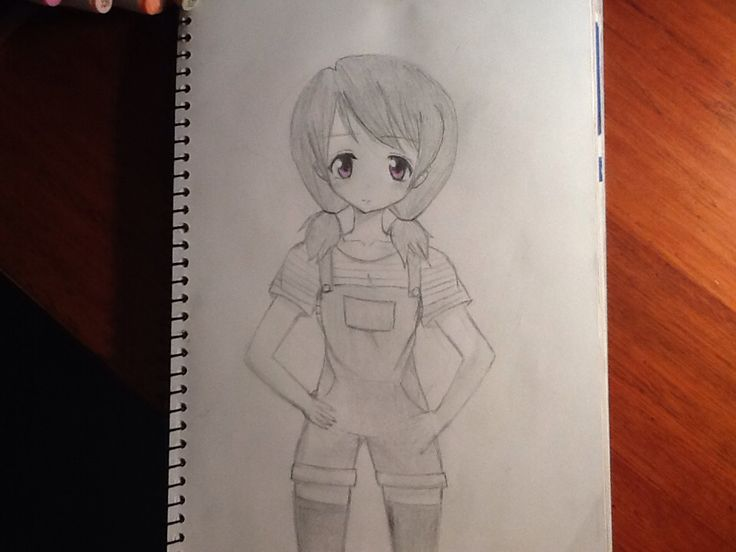 A girl I drew wearing overalls! I can't draw hands without a reference yet so I left them out for the moment... Please comment what you think of it! By Chloe pash