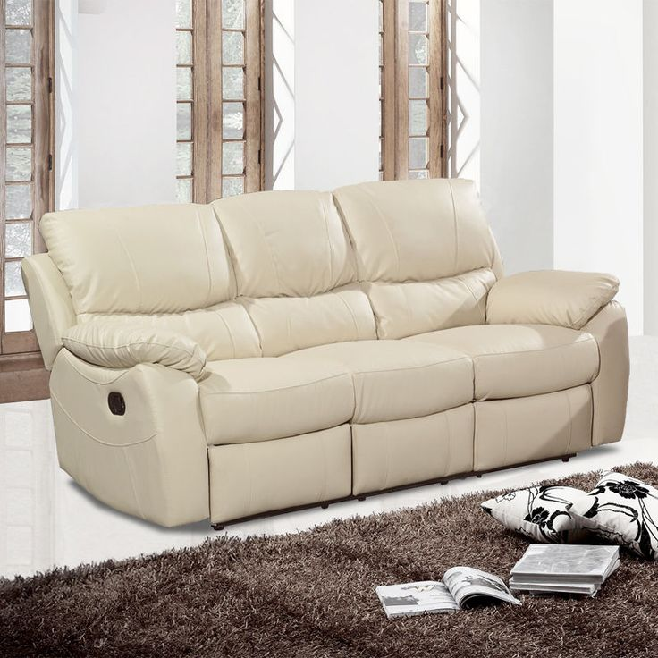 Wandsworth 3 Seater Fully Reclining Ivory Cream Leather Sofa Pocket Sprung