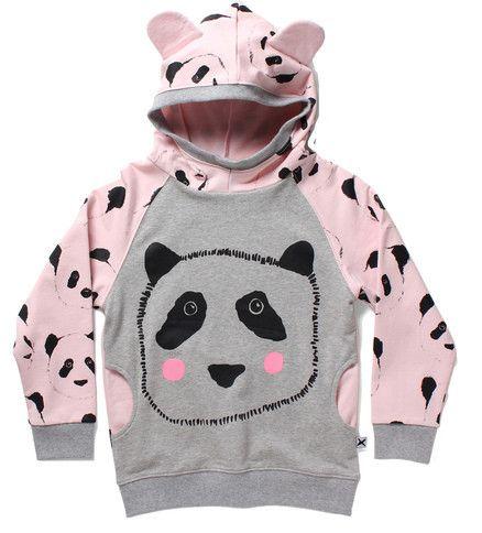 Minti Pocket Hood Panda Face Grey/Blush