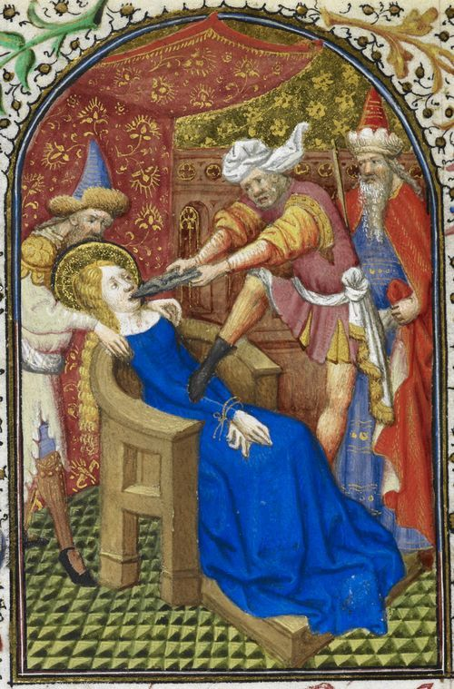 From the Medieval Manuscript blog post ' Happy St. Apollonias Day'. Detail of a miniature of the martyrdom of St Apollonia, from the Dunois Hours, France (Paris), c. 1440 – c. 1450.
