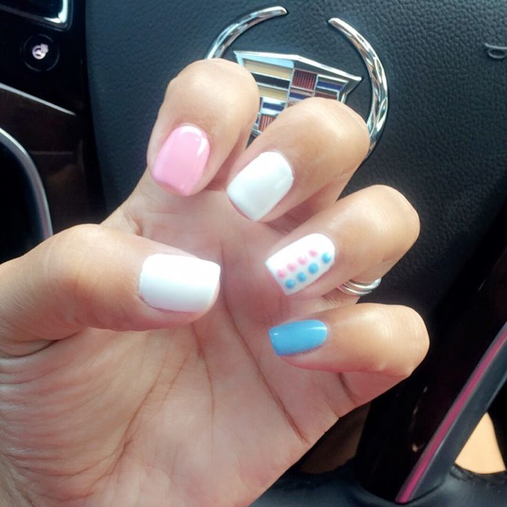My gender reveal nails #TeamPink or  #TeamBlue