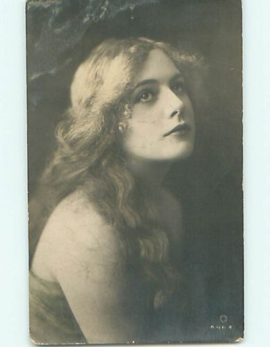 1917 rppc PRETTY GIRL WITH LONG GOLDEN FLOWING HAIR r6362