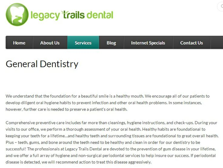Legacy Trails Dental is a great new dental office in Plano, TX. Dr. Christina Ky and associates provide various forms of dentistry, including: sedation dentistry, laser dentistry, periodontics, oral surgery, dental implants, and more. Dr. Ky is a great family dentist and the office accepts dental emergency appointments.