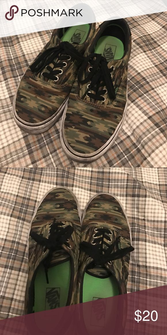 Vans size 9. Tribal camo. Worn. No tears or holes just a little dirty. Size 9 Vans Camo Vans Shoes Athletic Shoes