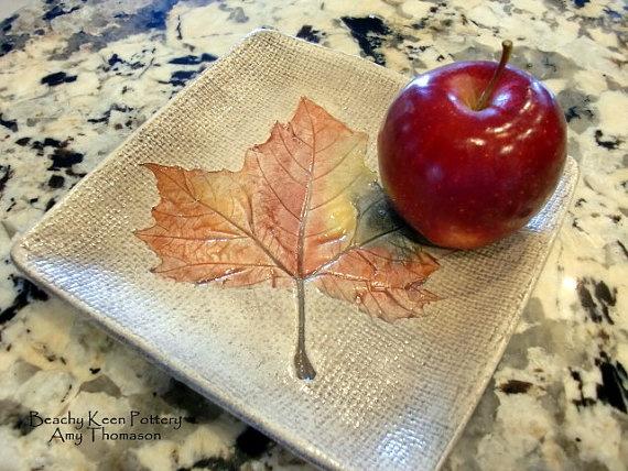 """Fall leaf """" plate."""