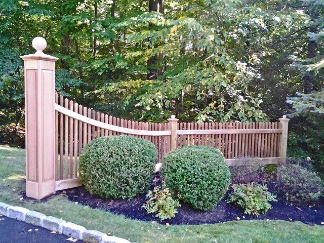 Wood Picket Driveway Entrance Sections Wood Fence