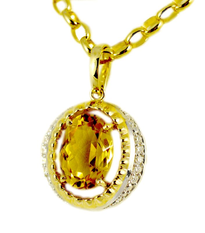 Sunshine yellow natural citrine and diamond enhancer in yellow gold