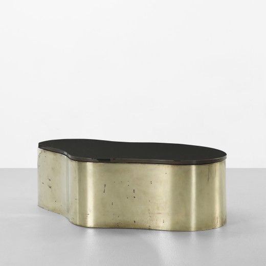 Superieur Karl Springer / Free Form Glass And Brass Coffee Table, C.1970.