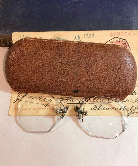 3649f2cbafa Antique eye glasses spectacles nose pinch glasses original case jpg 570x688 Nose  pinch glasses