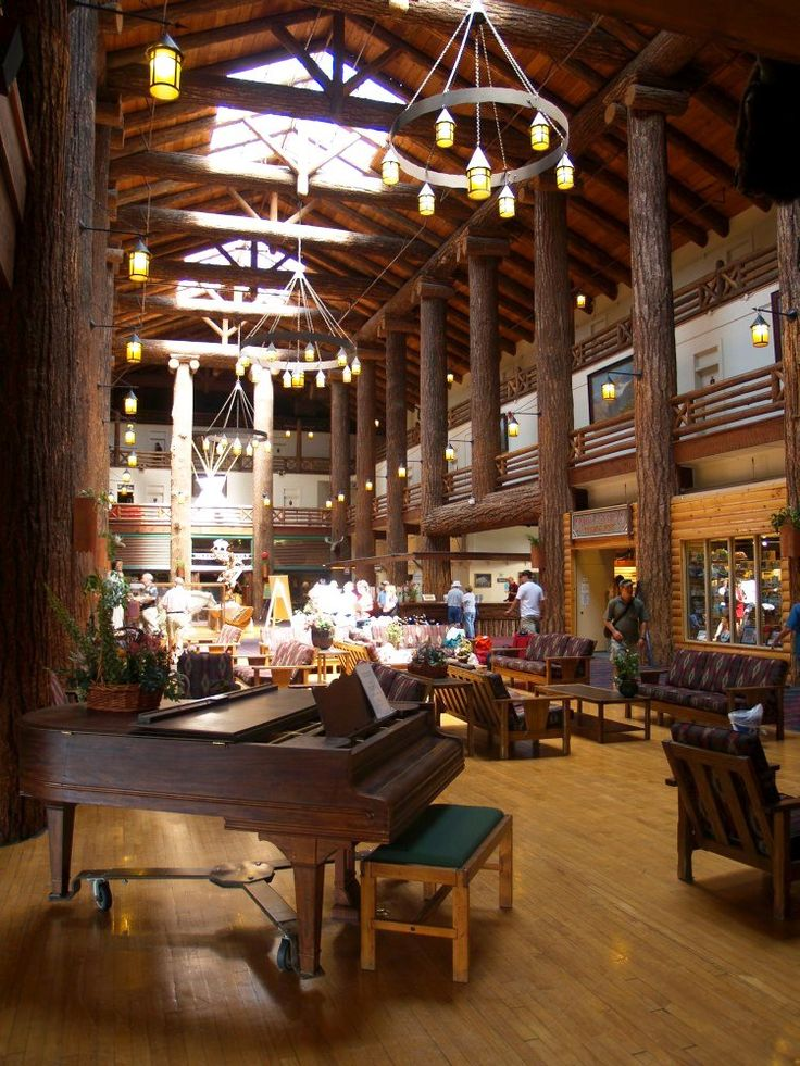 Glacier Park Lodge (logs from Oregon - they are huge).  East Glacier
