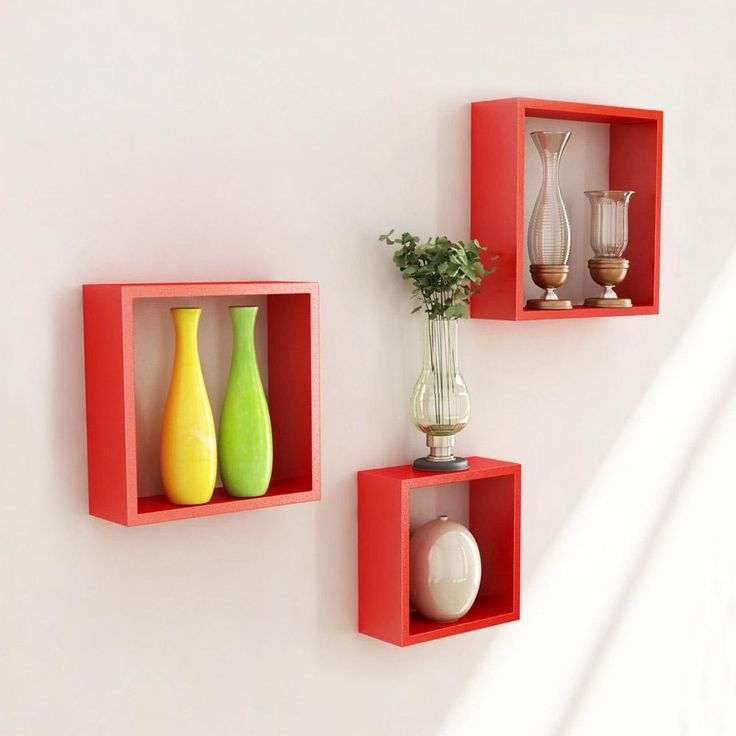 home home u0026 furniture decor wall decor wall accents desi karigar wall mount shelves square shape set of 3 wall shelves pink white u0026 red