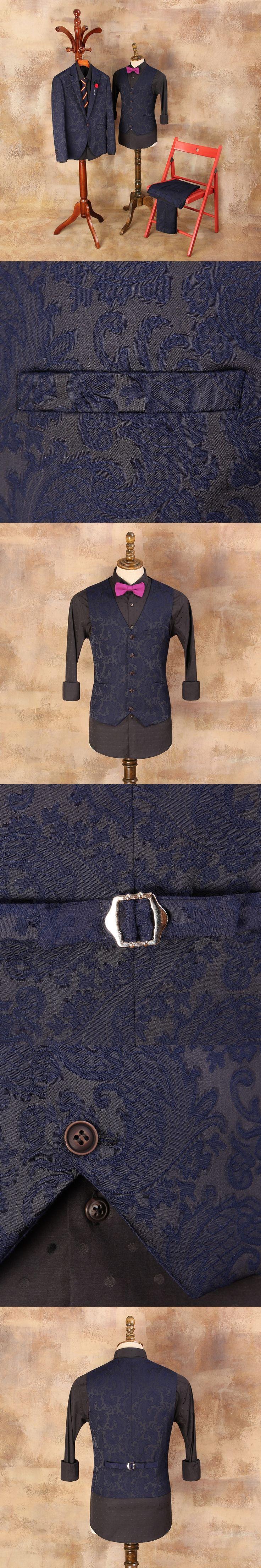 Europe and the United States Suit Vest Male Vault Blue Jacquard Slim Horse Clip Vest For Wedding Dress Mens Vests Man Waistcoat