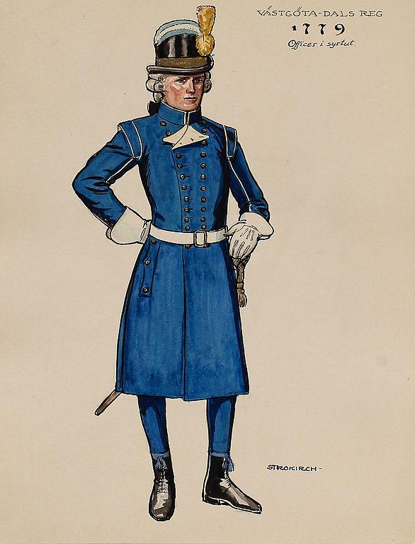 Offcier (in Surtoutt) at Västgöta-Dals regiment of foot 1779 by by Einar von Strokirch