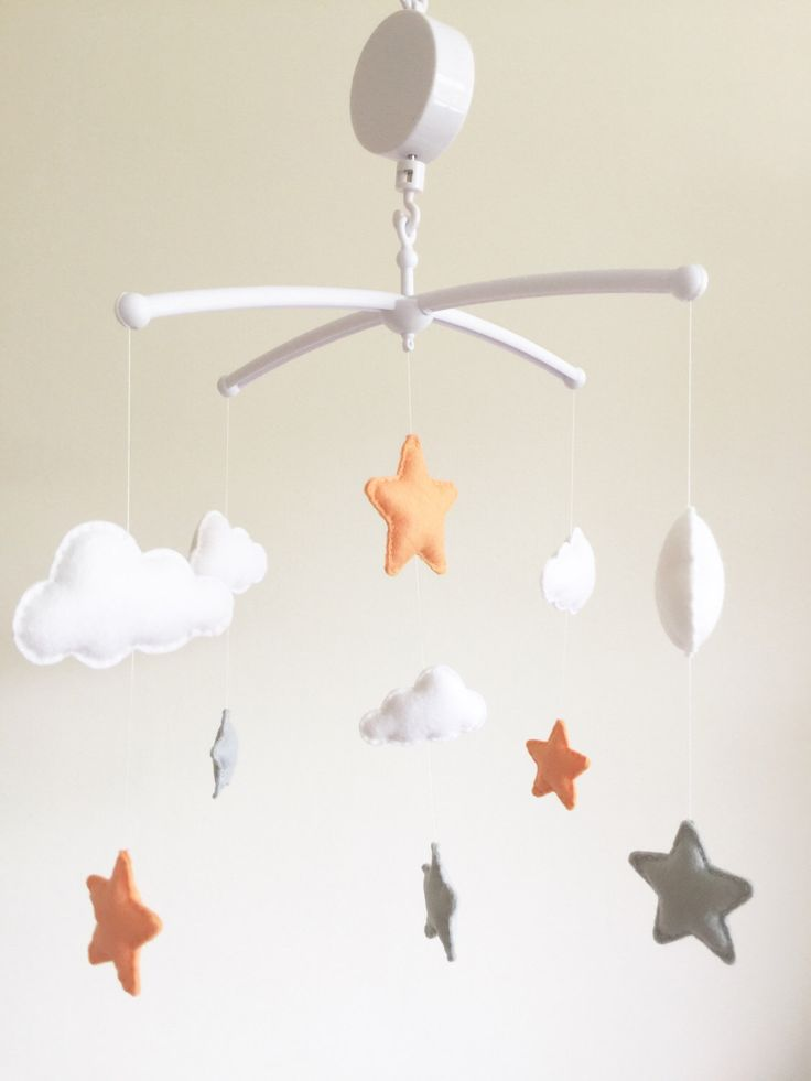 Clouds & Stars Musical Cot Mobile, Baby Mobile, Cloud Nursery Mobile, Stars  Nursery, Nursery Decor, Baby Mobile, Musical Cot Mobile, Grey by xCrazyLittleCraftsx on Etsy https://www.etsy.com/uk/listing/468074721/clouds-stars-musical-cot-mobile-baby