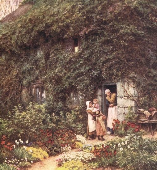At Grannys Helen Allingham English 1848 1926 Cottages UkEnglish CottagesCountry