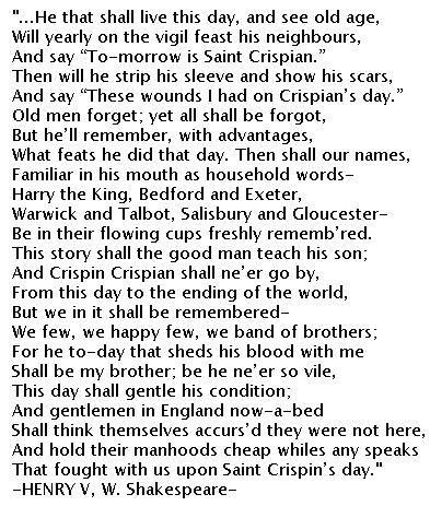 St. Crispian's Day Speech - Henry V - William Shakespeare - 1599