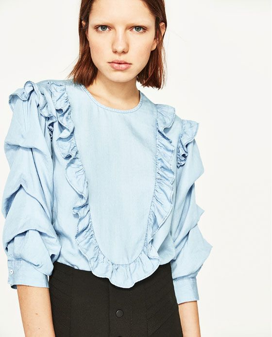 Image 2 of BLOUSE WITH FRILLS from Zara