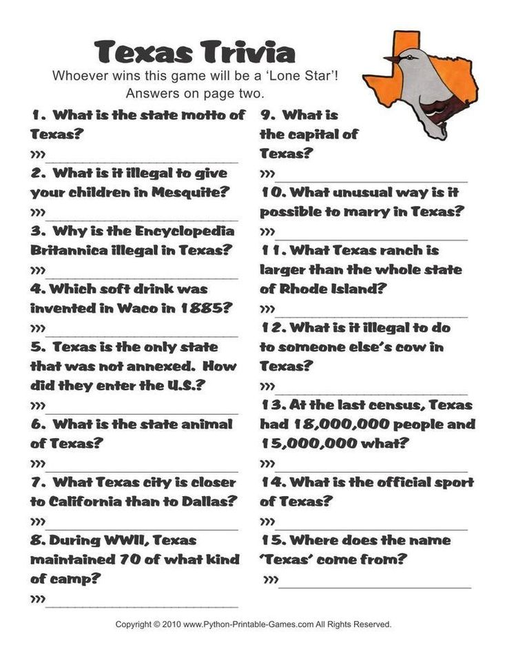 American Games Texas Trivia (With images) Texas trivia