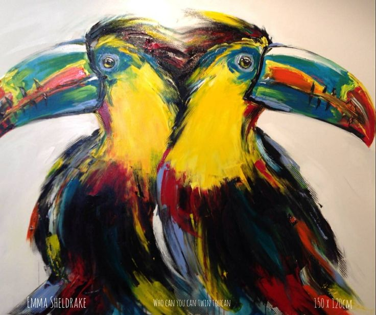 "Emma Sheldrake, painting ""Who Can You Can Twin Toucan"" 150x120cm. Red Hill Gallery, Brisbane. redhillgallery.com.au"