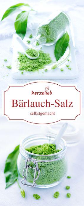 Bärlauch Rezepte: Leckeres Bärlauchsalz von herzelieb.Rezept und tolle Foodfotos.  Selbermachen liegt voll im Trend!