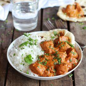 Easy, Creamy and Warming Healthy Crockpot Butter Chicken with Homemade Naan. So satisfying! (10 min. Prep!)
