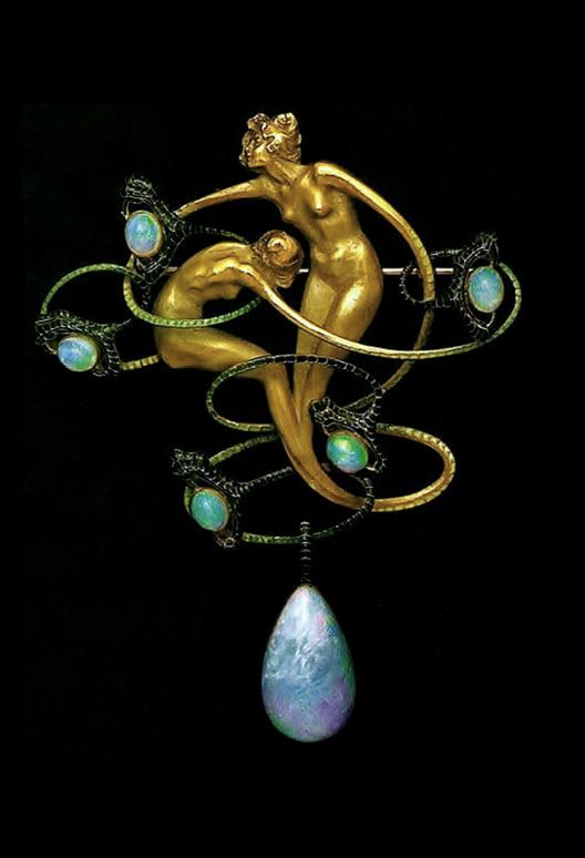 RENÉ LALIQUE | An Art Nouveau Gold, Opals and Enamel Brooch (n.d.)