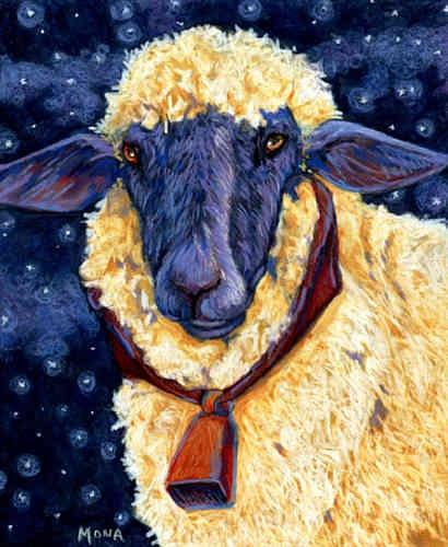 Fleece On Earth - Starry Night Sheep.  Sheep art work