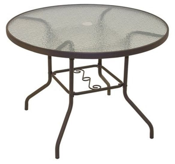 Round Patio Table Dining Outdoor Furniture Metal Glass #Unbranded