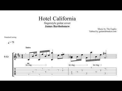 Hotel California fingerstyle guitar tab - acoustic fingerstyle guitar tabs - pdf guitar sheet music download - guitar pro tab download