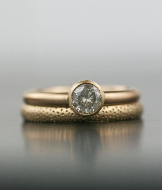 Yellow Gold Matte Bezel Set Engagment Ring And Textured Wedding Band By Lolide