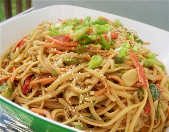 Peanut Noodles:  1 lb linguine  1 C shredded carrot  1 C chopped scallion  1/4 C chopped parsley  SAUCE: 1/3 C smooth peanut butter  1/4 C soy sauce  2 Tbsp rice vinegar  3 Tbsp sesame oil  2 Tbsp brown sugar  1/4 tsp pepper  1/4 tsp ginger  1/4 tsp red pepper flakes   sesame seeds;   Rinse cooked noodles in cold water & drain. Toss with carrots, scallions, & parsley. Separately, whisk sauce ingredients until smooth. Drizzle over noodles; toss to coat. Garnish with sesame seeds if desired.: Food Com, Asian Pasta Salad, Asian Noodles Salad Peanut, Side Dishes, Cold Peanut Noodles, Peanut Sauce, Cold Sesame Noodles, Cold Noodles, Peanutnoodles
