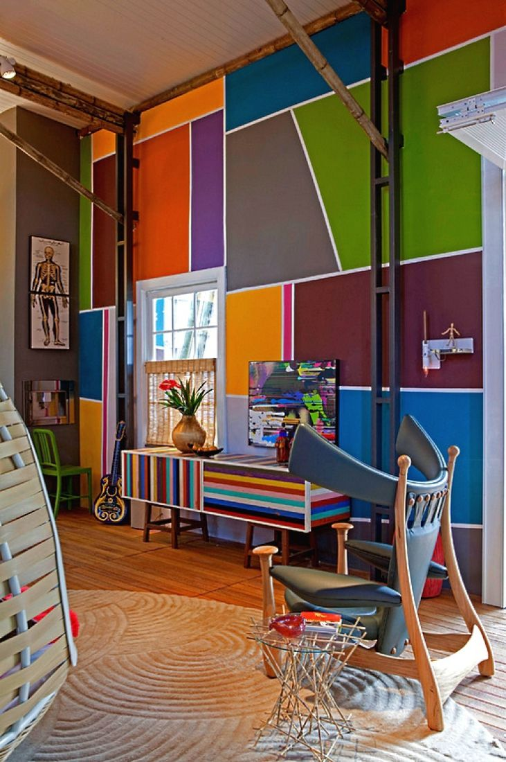 Покраска стен цветовыми блоками