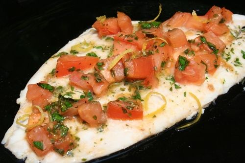 Dover Sole with Tomatoes and Herbs - super fresh and delicious. I used catfish since it's what I had on hand and I added fresh chopped garlic.