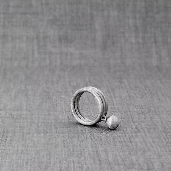 Planetas Ring with Orb - matte finish Silver jewelry, made by contemporary designer Zosha Works