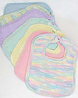 Knitted baby bib pattern. Made with lovely pastel, cotton yarns.