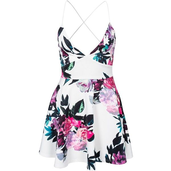 Ax Paris Floral Skater Dress (73 160 LBP) ❤ liked on Polyvore featuring dresses, vestido, cream, party dresses, womens-fashion, white dress, white v neck dress, cream dress, circle skirt and white skater skirt