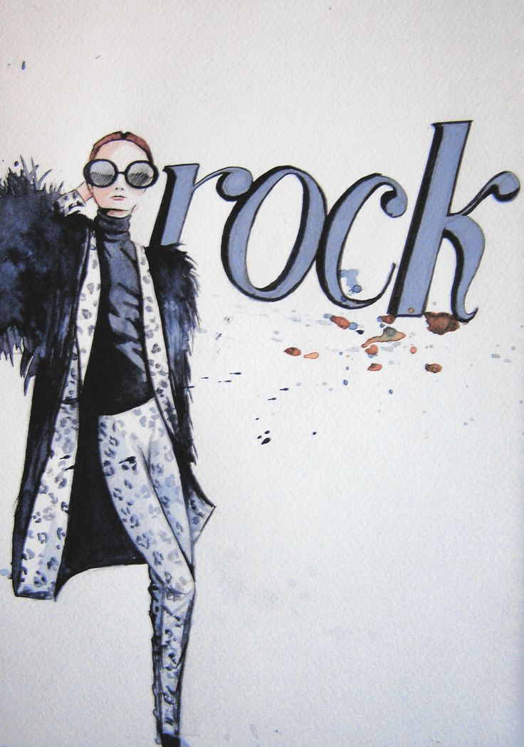 Figurin moda. rock roll moda. vestido negro. Acuarela