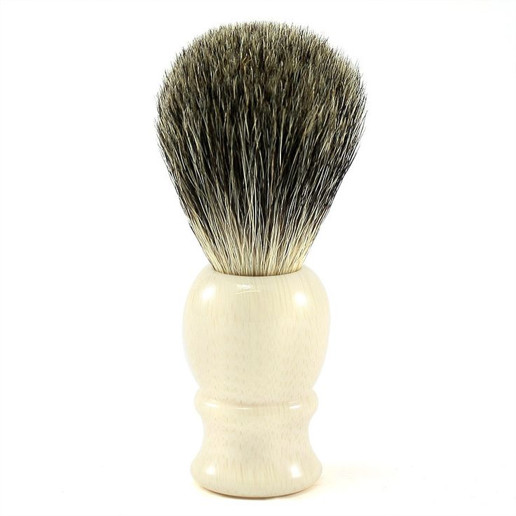 Classic Pure Grey Badger Shaving Brush, Faux Ivory Handle