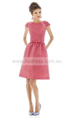 Short Sleeves Zipper Jewel Knee-length Taffeta Evening Dresses esfa307150--Hodress
