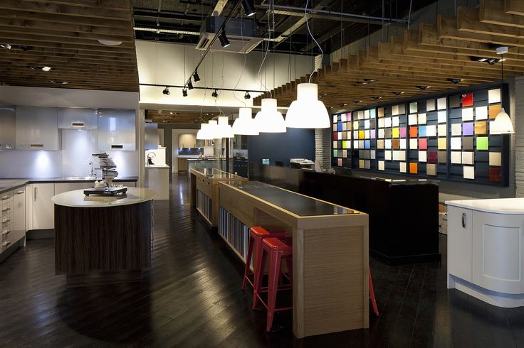 The Kitchen Store, Brighton makes use of the TRi-PIN-LED in black from Photec Lighting between wooden rafters #led #lighting #interior #design #spotlight