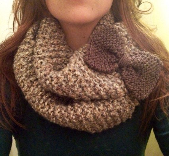 Oversized Hand Knit Infinity Scarf With Detachable Bow--cream, brown, and gray