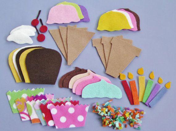 Felt Board Set/ Felt Ice Cream / Felt Cupcakes / Felt Food /