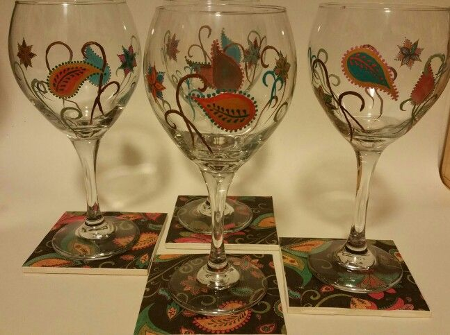 Paisley glasses, with matching coasters