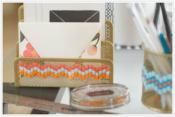 Stitching onto those boring metal office supplies (from Camille Styles). This is so great!: Dollar Stores Crafts, Office Supplies, Crossstitch, Crosses Stitches, Offices Accessories, Offices Organizations, Cross Stitches, Desks Accessories, Offices Supplies